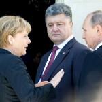 Vladimir Putin, Angela Merkel, Petro Porošenko