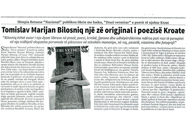 Tomislav Marijan Bilosnić originalan glas hrvatske  poezije popratio je tjednik Nacional, br. 298