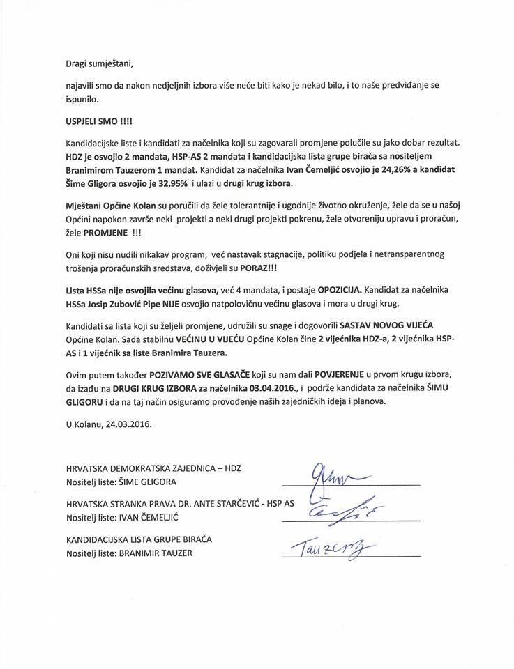 Sporazum Kolan HDZ-HSP AS-Nezavisna lista mladih