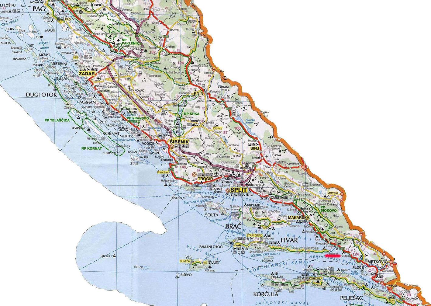 Karta Auto Karta Srednje Dalmacije